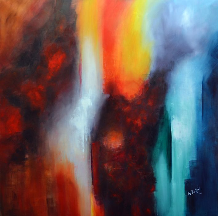 """""""Explosion"""" is an abstract acrylic painting by Niki Katiki"""