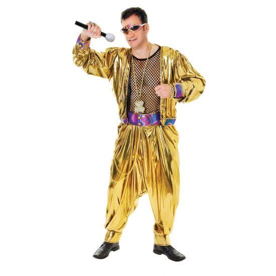 Cant touch this kostuum van MC Hammer. Gouden kostuum zoals gedragen in de 80s videoclip cant touch this. Dit kostuum is inclusief broek, shirt en jasje.