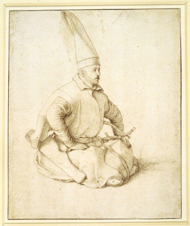 DER JANITSCHAREN: Sitzende Janitscharen von Gentile Bellini / Seated Janissary by Gentile Bellini, 1479–81