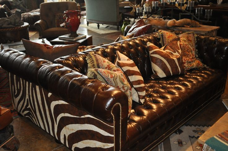 Double Tufted Leather And Zebra Two Sided Sofa Brown