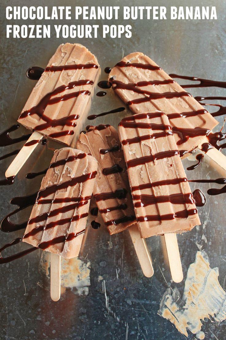Chocolate peanut butter banana frozen yogurt pops! A healthy(ish), yet ...