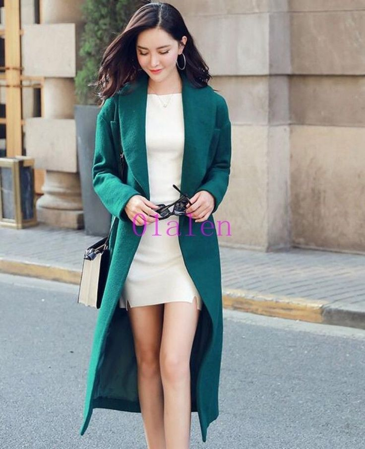01 Womens Knee Length Coats Belt Wool Blend Autumn Overcoats Trench Long Jacket