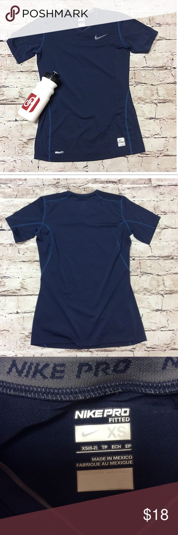 NIKE PRO FITTED ACTIVE TOP IN NAVY BLUE Gently used active top by Nike. Fitted style Nike Tops Tees - Short Sleeve