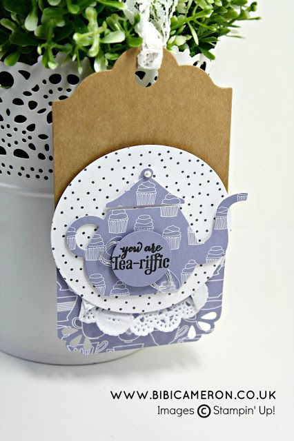Independent UK Stampin' Up! Demonstrator Bibi Cameron: A NICE CUPPA STAMPIN' UP! -  EASY TEA PARTY TAG