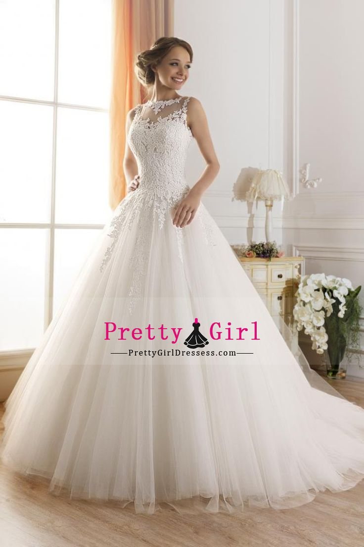 2016 A-Line Scoop Court Train Wedding Dresses Tulle With Applique