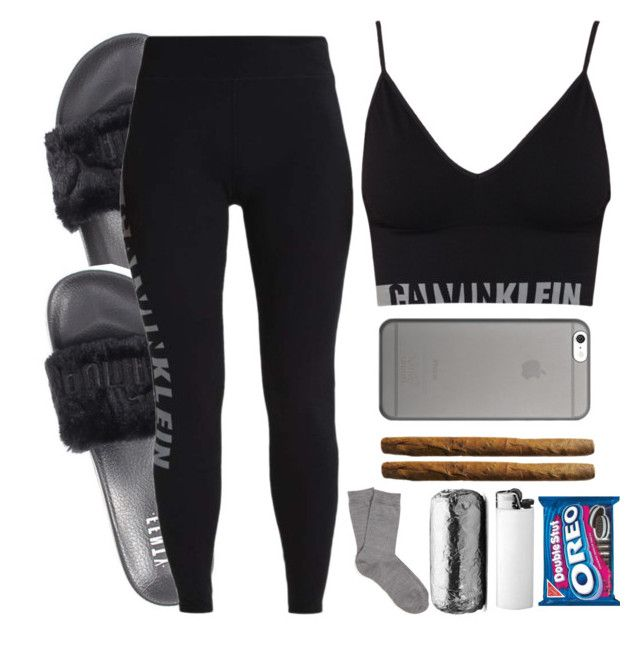 """""""Goodnight ✌"""" by xbad-gyalx ❤ liked on Polyvore featuring Puma, Calvin Klein, Falke and Native Union"""