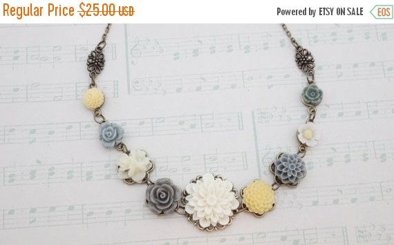 20 off SALE Necklace, Multicolor grey, yellow, and ivory resin flower filigree necklace Necklace: No. N117 by VerdigrisGifts on Etsy https://www.etsy.com/listing/172875713/20-off-sale-necklace-multicolor-grey