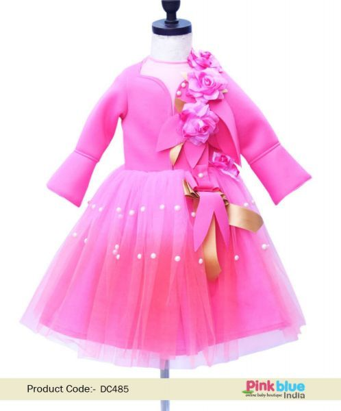 c0e58e4a084ed5 Kids Birthday Party Frock - Designer Baby Girl Party Wear Gown - Flower Girl  Wedding Dress - Girl's Scuba Lycra Birthday Outfit - Princess Party Wear  Dress ...