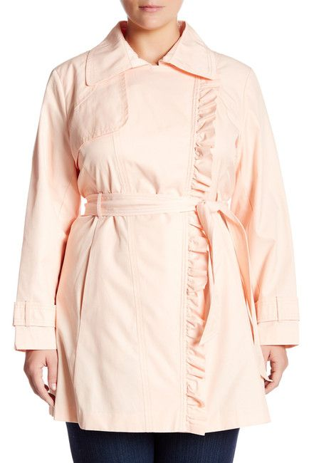 Image of Jessica Simpson Ruffle Trim Asymmetrical Zip Trench Coat (Plus Size)