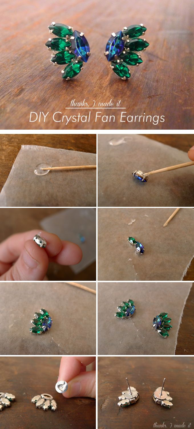 Thanks, I Made It : DIY Crystal Fan Earrings