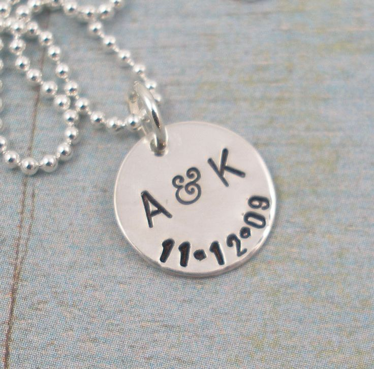 free rose in hand products stamped necklace silver personalised initial shipping or gold silve discs