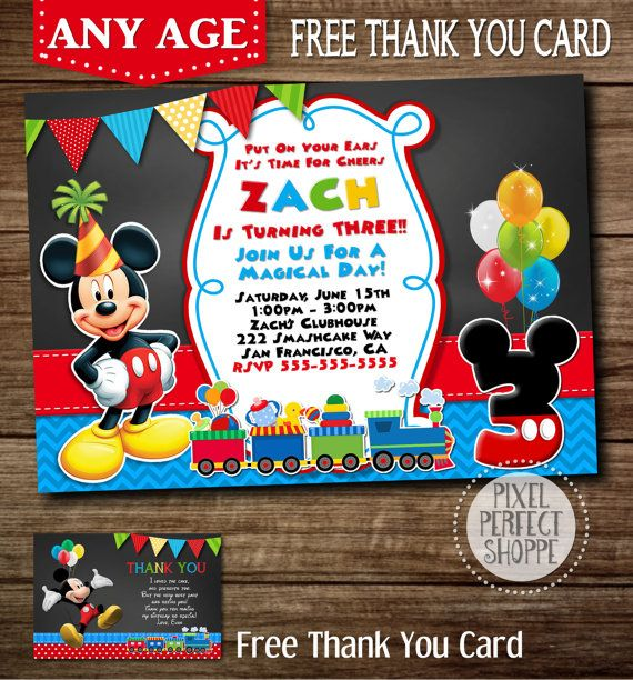 ANY AGE Mickey Mouse Train Invitation by PixelPerfectShoppe