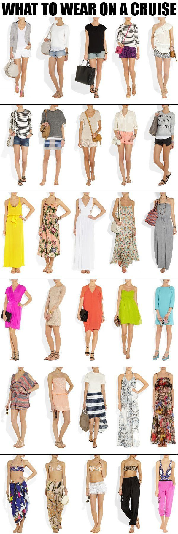 Take a look at the following images and get ideas on Caribbean cruise outfits and packing lists.