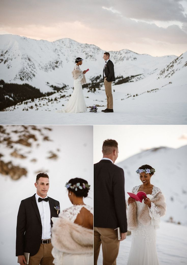 wedding ceremony wording samples%0A With pink sunrise skies and the cool white of the snow as their backdrop   Mikayla began her intimate wedding vows  personalized for Jared
