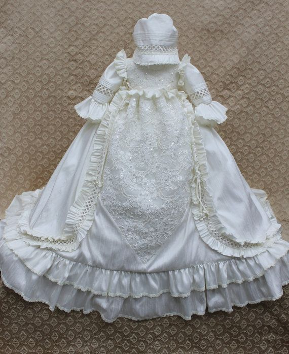 Couture Christening gowns | Victorian Gown/Heirloom Christening Silk by ElenaCollectionUSA, $575 ...