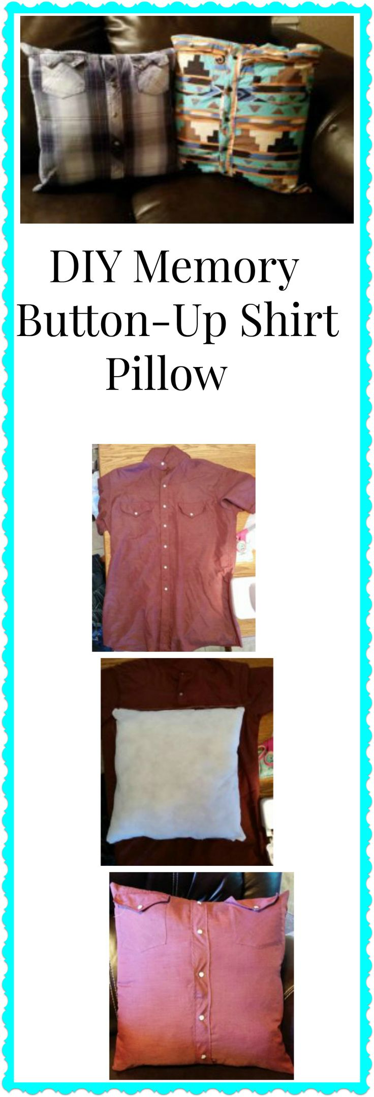 A memory button-up shirt pillow is the perfect use for old shirts. I made these ones using my grandpa's old shirts, who passed away 2 years ago.