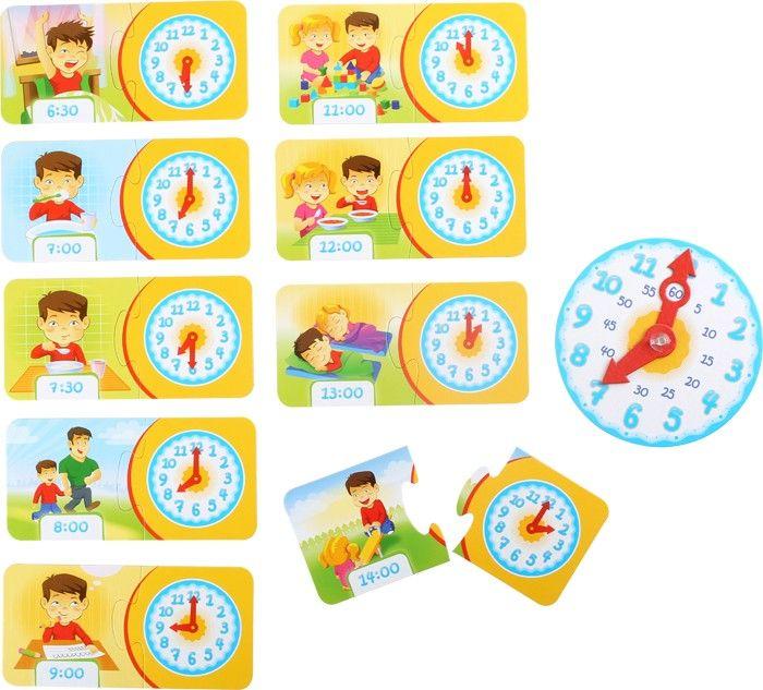 www.malinowyslon.pl  Zegar - gra edukacyjna Montessori Kto przestawił wskazówki? W tej wspaniałej  zabawie edukacyjnej, za pomocą różnego kształtu puzzli i dwóch wskazówek, dzieci uczą się funkcji zegara. Pokazane są różne sytuacje z typowego dnia przedszkolaka, zadanie polega na dopasowaniu czasu i wskazówek do pory wykonywania danej czynności. Obowiązkowa gra dla rodziców, którzy w trakcie zabawy chcą przygotować swoje dzieci do szkoły.