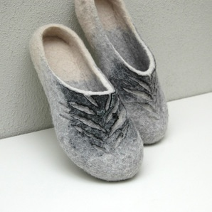 Hand felted slippers Gray Wind Unisex
