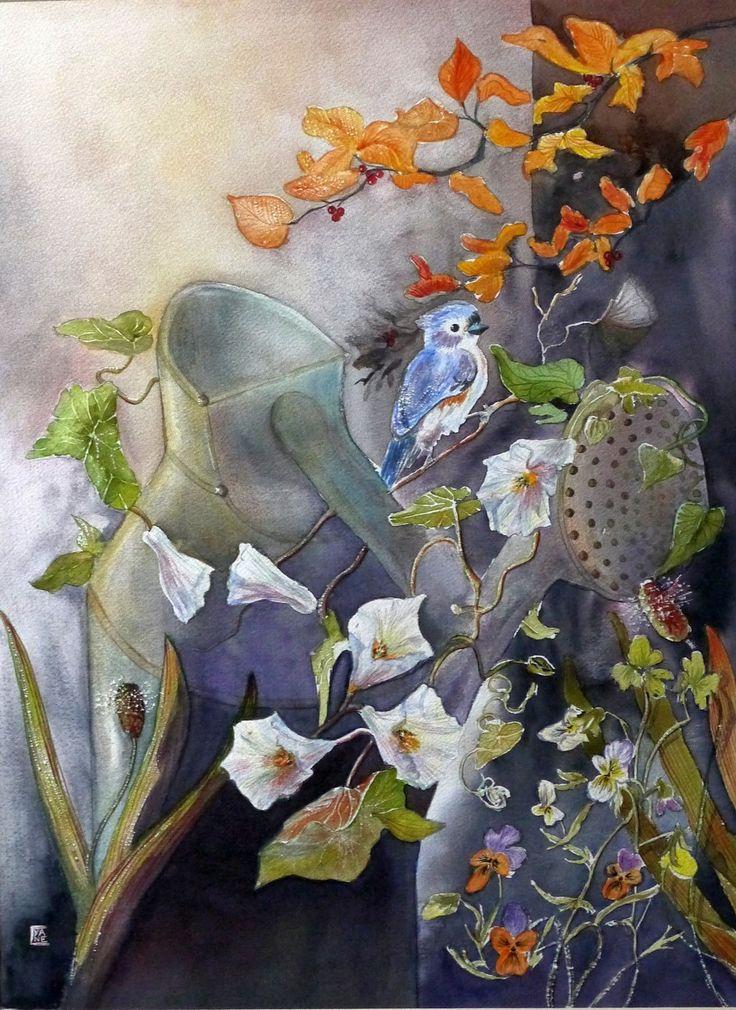 Tableau Fleurs, Peinture Contemporaine, Aquarelle Nature, Art Jardin : Peintures par cyane-art-contemporain