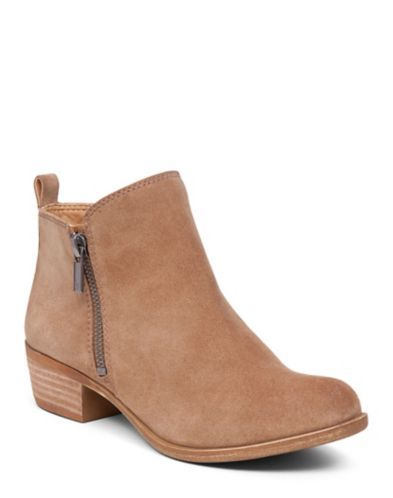 Inspired by a vintage ankle boot, our very versatile Basel booties feature a timeless shape and subtle worn-in detailing.<br/><br/>•1.2 inch heel height<br/>•Zipper closure<br/>•Upper suede leather, synthetic lining, stacked heel and rubber outsole.