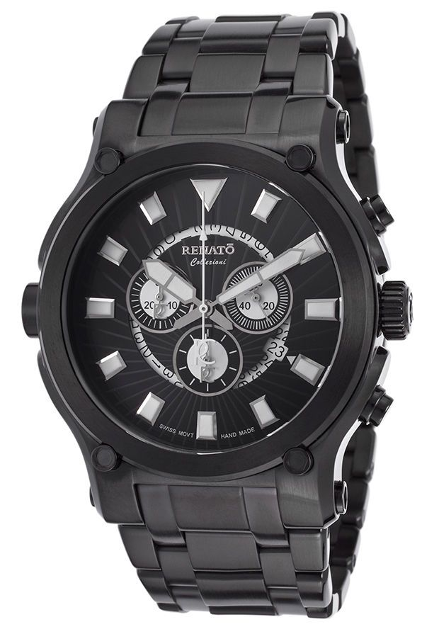 RENATO CALIBRE ROBUSTO 50 CHRONO BRUSHED BLACK IP STEEL SWISS MEN'S WATCH #Renato #Casual