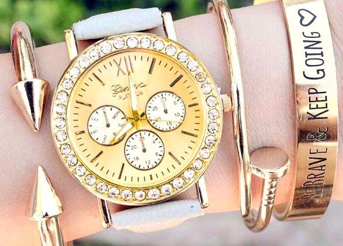 Zegarek Złoty GENEVA Pikowany skórzany Biały EdiBazzar