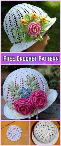 Crochet Girls Panama Spiral Sun Hat Free Pattern with Video Tutorial – fashion