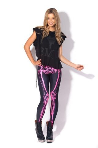 Leg Bones Neon Pink Leggings