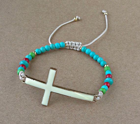 Enamel White Cross-Christian Bracelet-Christian