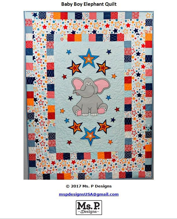 Elephant and stars applique baby boy or girl quilt PDF pattern; easy downloadable whimsical nursery quilt pattern; Ms P Designs USA by MsPDesignsUSA on Etsy