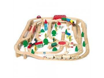 Circuit de train en bois Legler - Gare de marchandises - 140 pièces