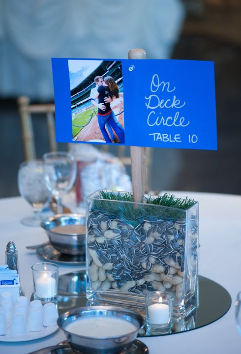 Baseball Themed wedding reception table centerpiece  #baseballwedding #stwdotcom