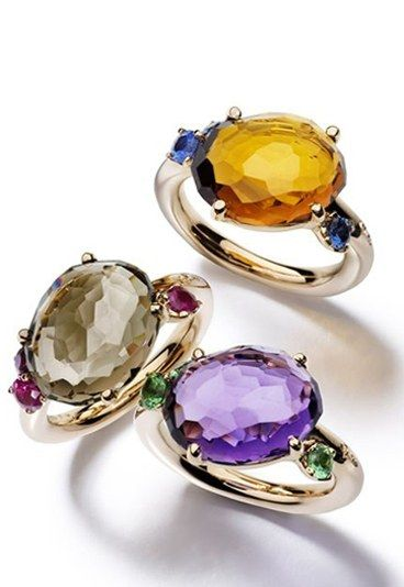 Pomellato Bahia rings in pink gold - smoky quartz and ruby, orange quartz and sapphire, amethyst and tsavorite.