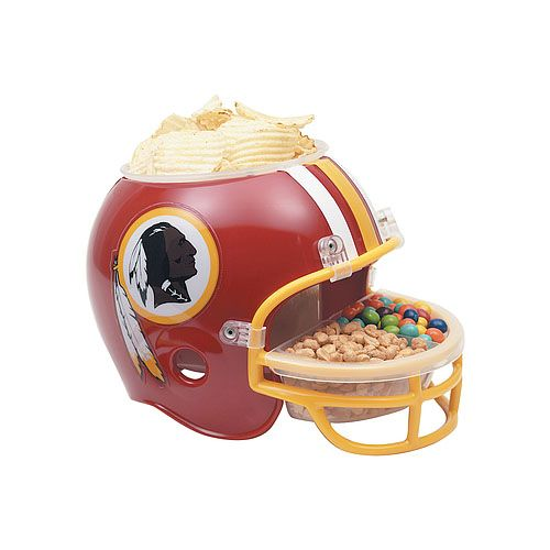 NFL Snack Helmet. A must-have for tailgating and game-day gatherings! Plastic helmet houses a large compartment with lid for pretzels, popcorn, chips, crackers, plus a smaller 2-section bowl in the face mask for dips, salsa, queso, or small snacks. http://www.zocko.com/z/JID2T