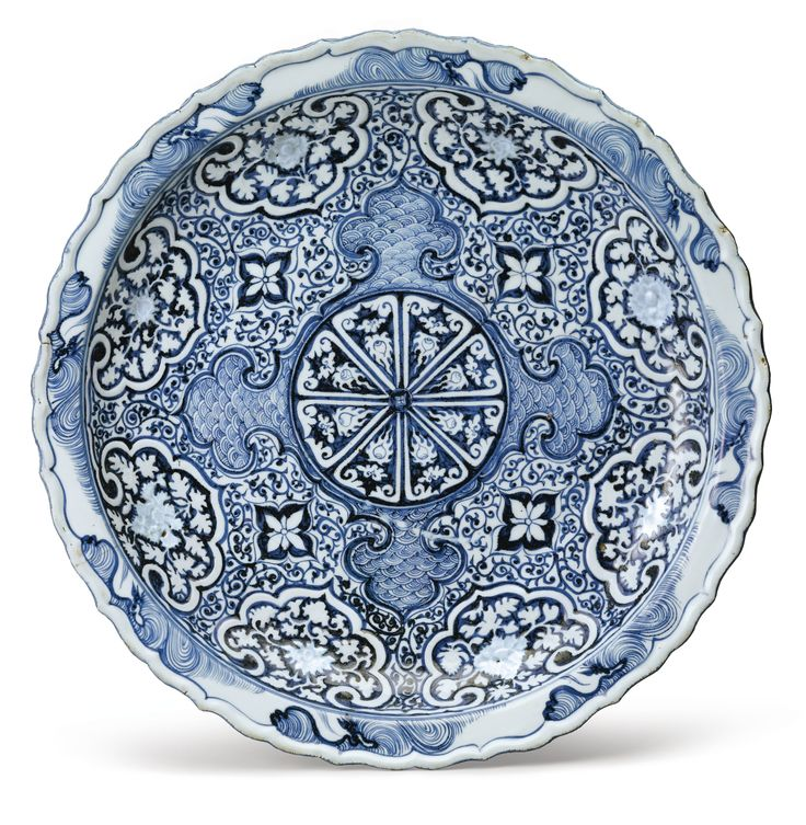 A Rare Molded Blue and White Barbed Rim Dish, Yuan Dynasty, 14th Century, est. $200/300,000 | Sotheby's