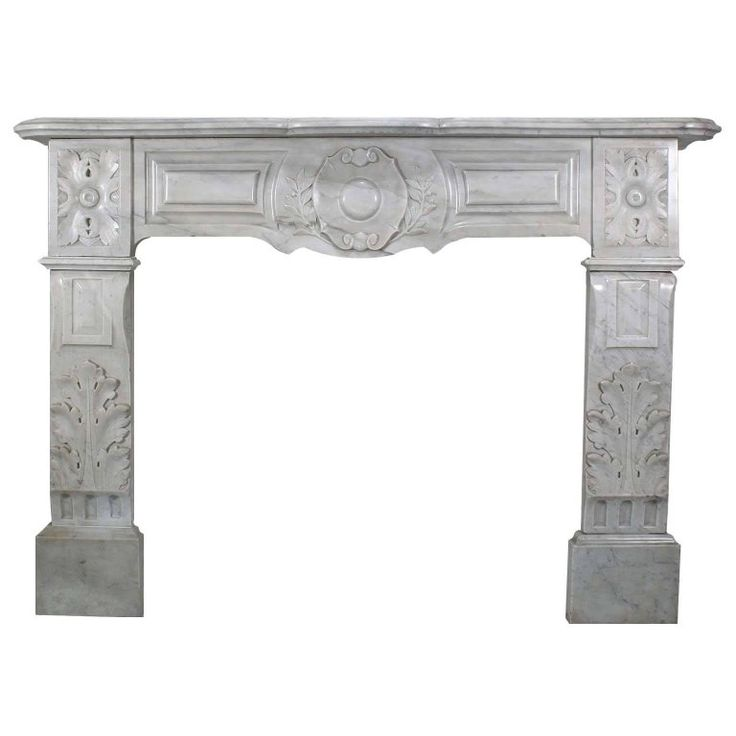 Fine French 19th Century Louis XVI Style Carved White Marble Fireplace Mantel