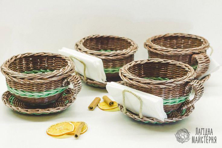 Чашки для подачи сахара и салфеток в кафе.(плетение из бумажной лозы, газет, бумажных трубочек, basket weaving, paper)