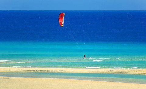 Water gliding, Sotovento beach, Jandia Peninsula, Fuerteventura, Canary Islands, Spain, Alantic, Europe - 718-1702
