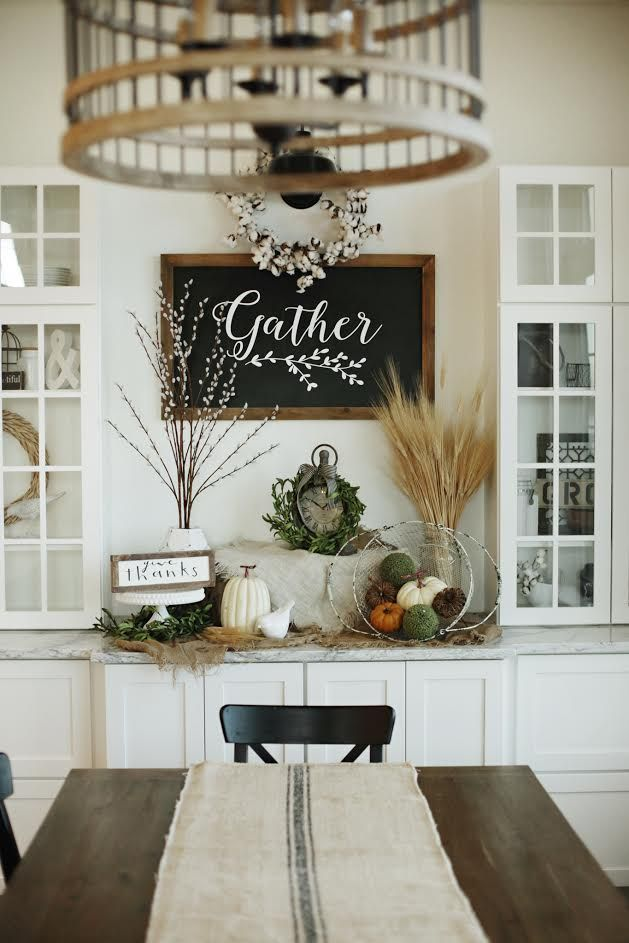 Custom Built Modern Farmhouse Home Tour with Household No 6 | White built in storage display, Gather chalkboard, cotton wreath, chadlier & grain sack runner drapped farm table dining