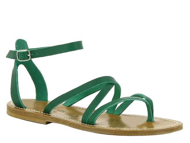 K Jacques women's flats sandals in green leather - Italian Boutique €140