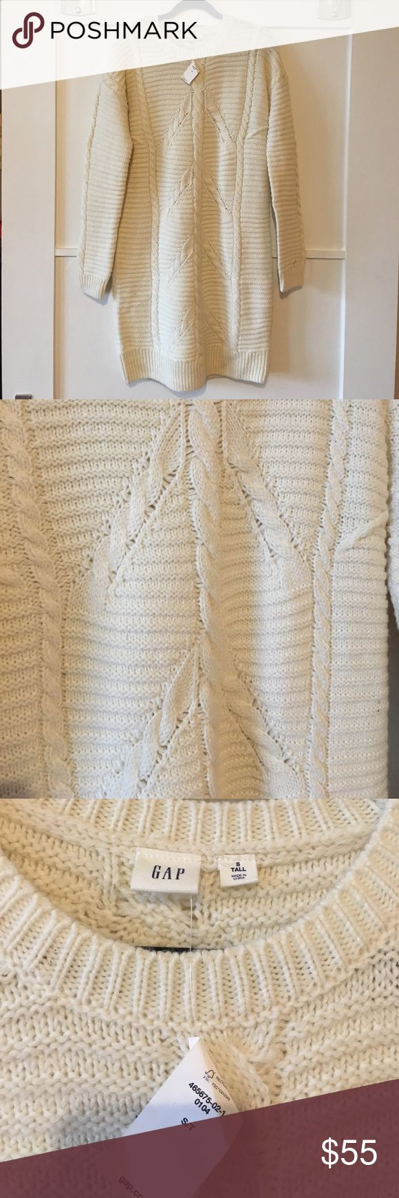 HOST PICK! 💚💜 NWT! Cozy cream sweater dress! Cozy sweater dress with cable-knit accents! Size ST! GAP Dresses