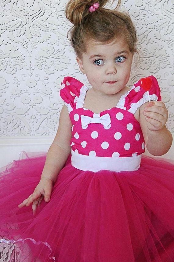 Minnie Mouse dress Hot pink Polka Dots dress TUTU  Party Dress  super twirly  dress 1st Birthday party on Etsy, $58.00