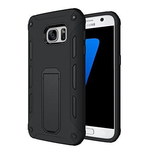 Galaxy S7 Edge Case Vabogu [Heavy Duty] Soft TPU & Hard PC Rugged Dual Layer Case with Kickstand for Samsung Galaxy S7 Edge(Black)