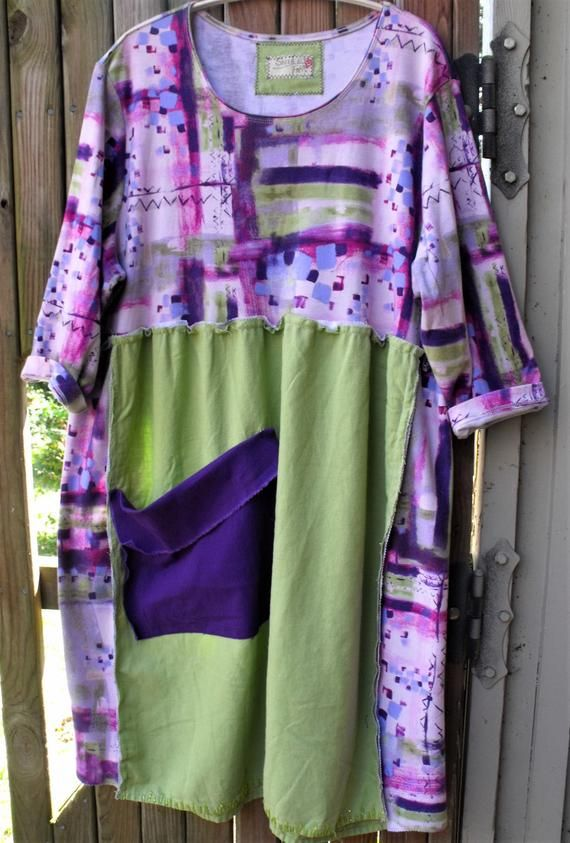 Funky Handmade Frock Size  Large-1X Dress Recycled Handmade Clothing