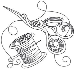 Delicate lacy lines fall behind swirly detail in this vintage spool and scissors design. Downloads as a PDF. Use pattern transfer paper to trace design for hand-stitching.