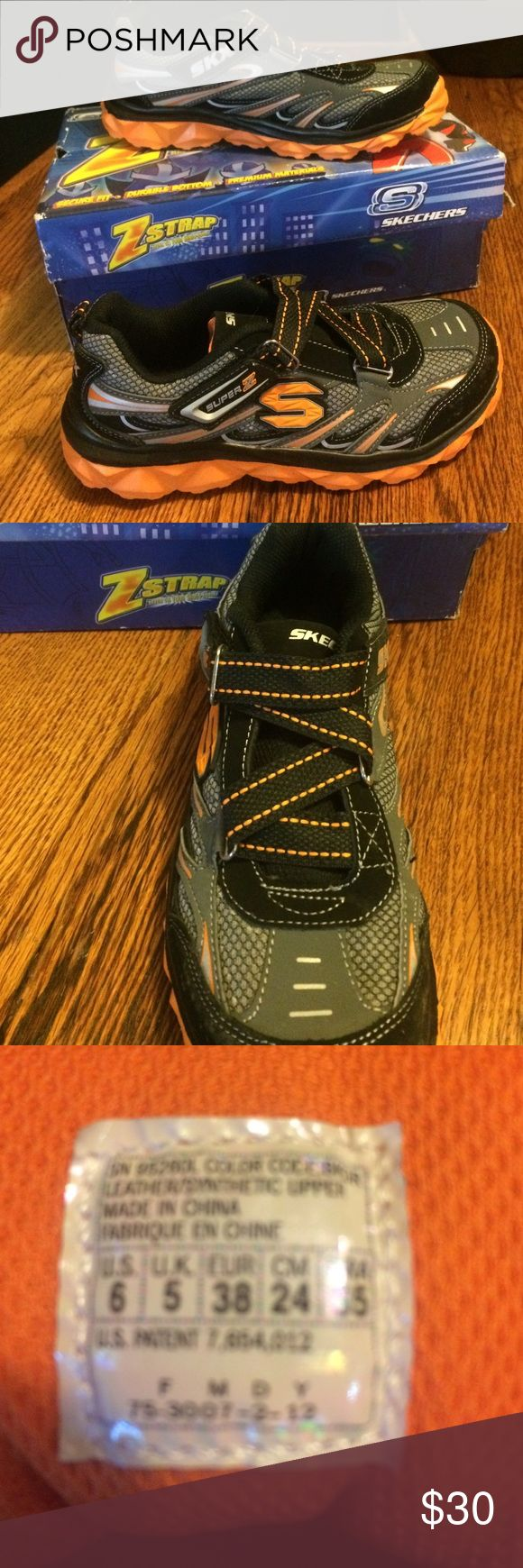 NEW! Skechers Z Strap. Boys. Size 6. Never worn. Still in the box. Box is a bit worn. Will ship in box. Skechers Shoes Sneakers