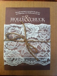 I really like this look!! Burlap and lace wedding invitation