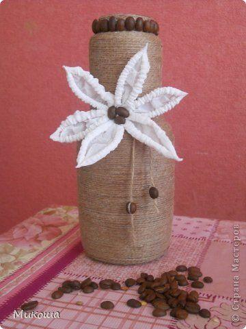 Декор предметов Шпагатное настроение Бумага гофрированная Бутылки стеклянные Коробки Кофе Шпагат фото 1