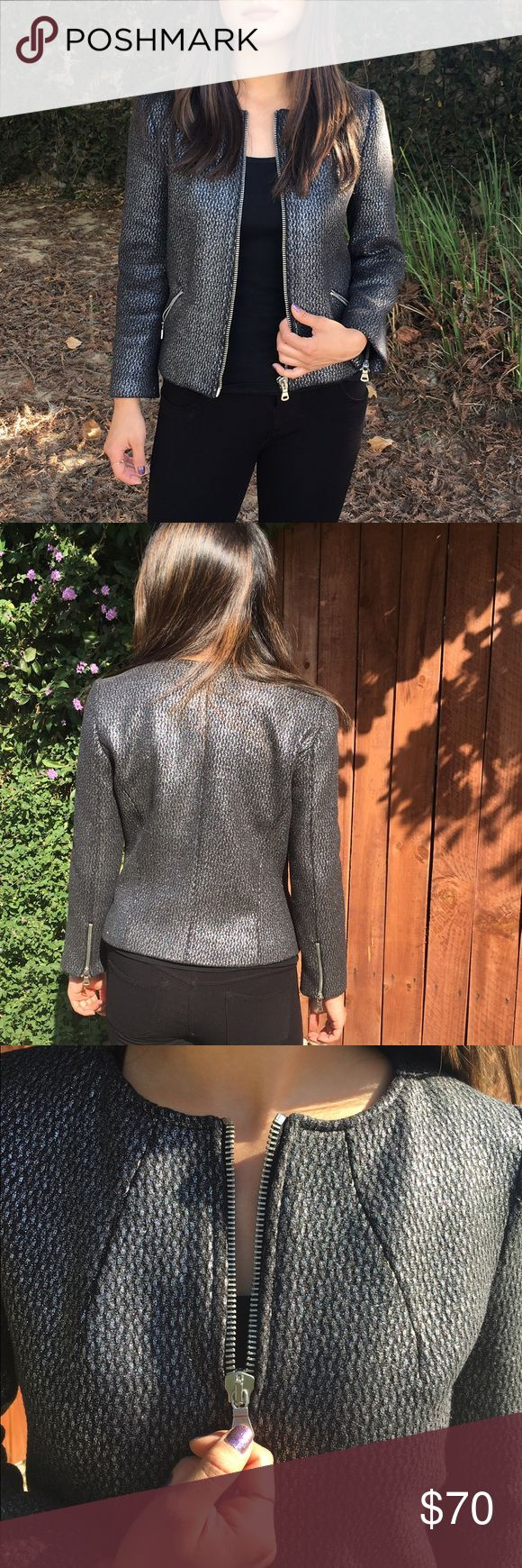 Sale! Gray/Silver Zara Jacket Absolutely beautiful jacket. I've probably only worn this about 1x. Extremely high quality. Has zippers on the sleeves as pictured. Metallic looking as pictured. Zara Jackets & Coats