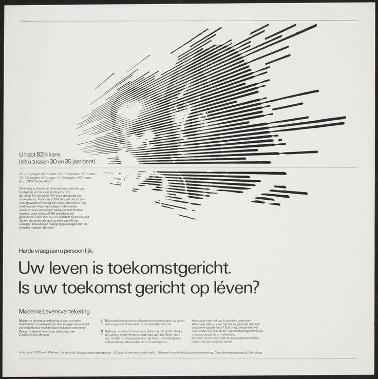 Jurriaan Schrofer – Uw leven is toekomstgericht. Is uw toekomst gericht op léven? U hebt 82% kans (als u tussen 30 en 35 jaar bent), Bureau Voorlichting Levensverzekeringen, 1970